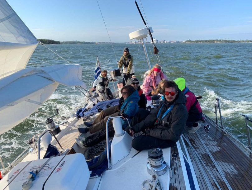 Adventure education students sailing on the north sea